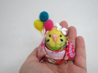 カワ★羊毛フェルト ミニチュア可愛い浴衣セキセイインコ ゆこりん工房 鳥 黄緑