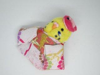 羊毛フェルト 可愛い浴衣インコブローチ ゆこりん工房 鳥 ハルクイン黄