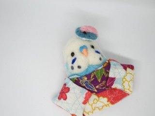 羊毛フェルト 可愛い浴衣インコブローチ ゆこりん工房 鳥 水色