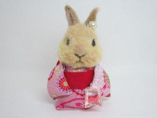 羊毛フェルト 可愛い兎浴衣フィギュア 金魚吊りの帰り道 ゆこりん工房 兎 茶