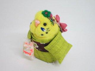 秋祭り 羊毛フェルト 金魚すくいの帰り道 セキセイインコ 黄緑 ゆこりん工房 鳥