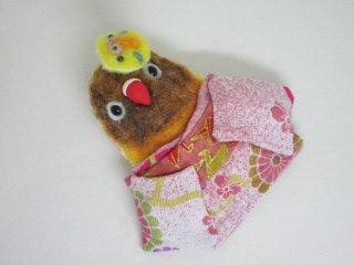 羊毛フェルト 可愛い浴衣ボタンインコブローチ ゆこりん工房 鳥