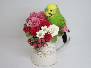 華麗 羊毛フェルト 可愛いセキセイインコ&薔薇苺オブジェ ゆこりん工房 鳥 黄緑