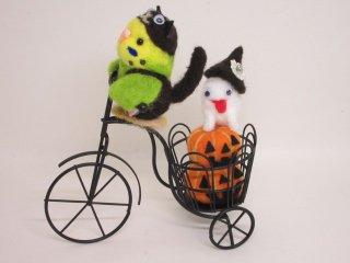 ハロウィン 羊毛フェルト セキセイインコ自転車オブジェ 黄緑 ゆこりん工房 鳥