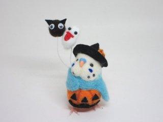 ハロウィン 羊毛フェルト風船かぼちゃパンツセキセイインコ 水色 ゆこりん工房 鳥