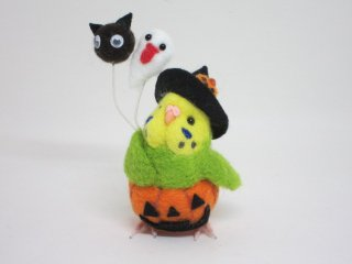ハロウィン 羊毛フェルト風船かぼちゃパンツセキセイインコ 黄緑 ゆこりん工房 鳥