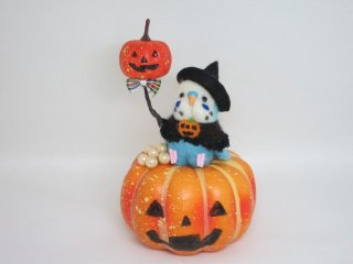 ハロウィン 羊毛フェルトかぼちゃ風船セキセイインコオブジェ 水色 ゆこりん工房 鳥