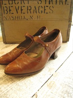1920's One Strap Brown Leather Shoes