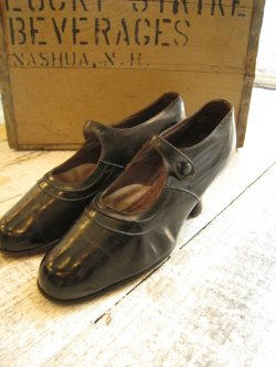 1920's One Strap Black Leather Shoes