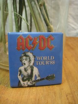 80's AC/DC Square Can Badge