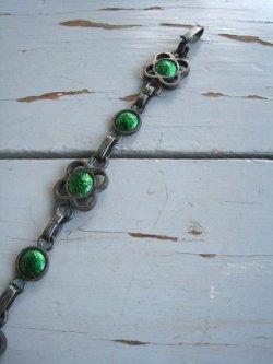 60's Modern Pewter & Enamel Bracelet