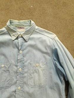 60's DOUBLE RINGER Blue Chambray Shirt