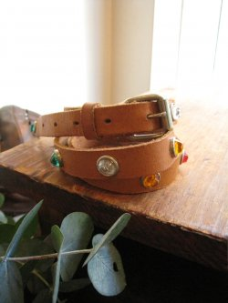 50-60's Studs Belt Brown Leather