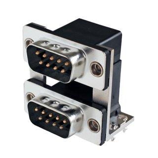 D-subコネクタ デュアルポート(2段) プラグ&プラグタイプ<br> JCV-9P9P-19-8-E