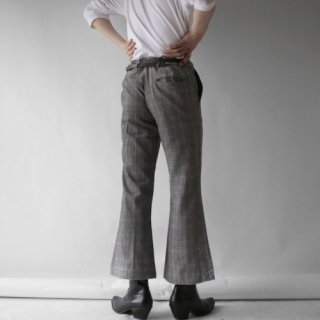 70's check flare trousers