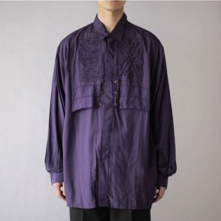 OLD broderie flap rayon shirt