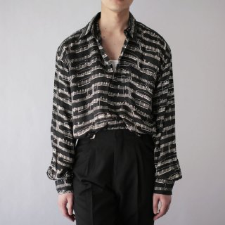 OLD hand made score silk shirt