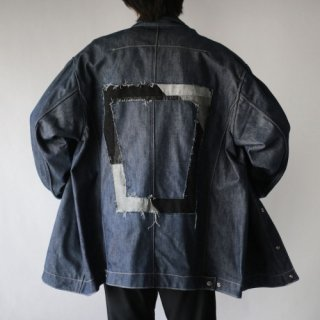 REMAKE back patchwork trucker jacket