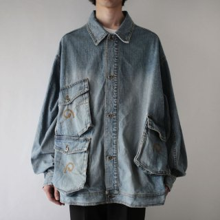 OLD collage pocket trucker jacket