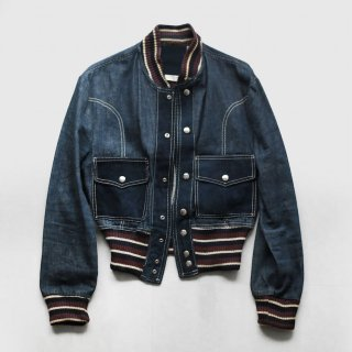 70's short rib denim jacket