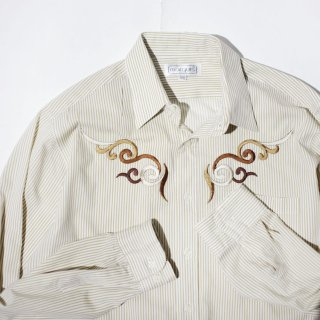 OLD broderie stripe shirt