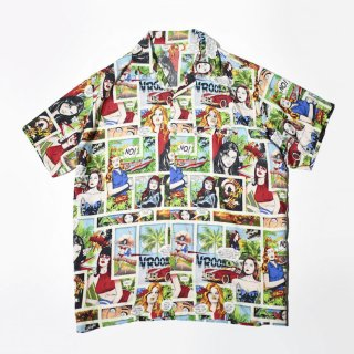 OLD comic graphic open collar h/s shirt