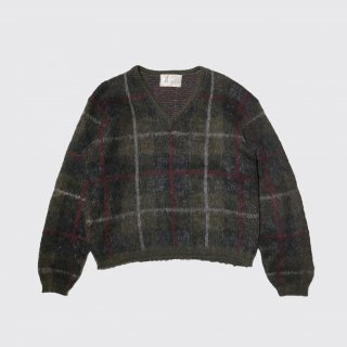vintage check mohair v neck sweater
