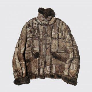 vintage patchwork shearing mouton jacket