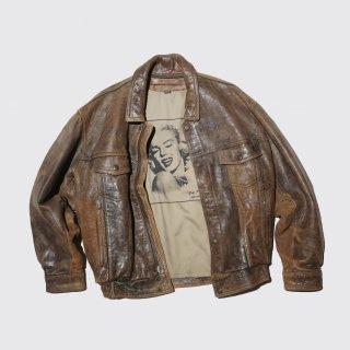 vintage leather trucker jacket , back - Marilyn Monroe