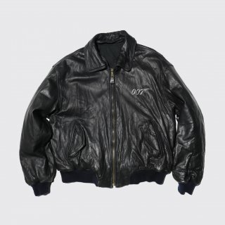 old 007 broderie leather bomber jacket