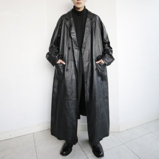 old oversized leather trench coat