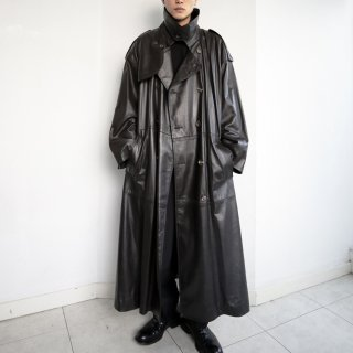 old stand collar leather trench coat