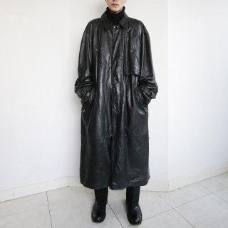 old slanting pocket leather coat