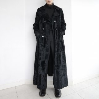 old super long double breasted faux far coat