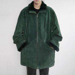 old fur combi suede zipped jacket