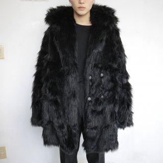 old hooded faux fur jacket