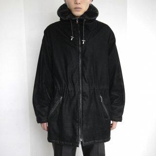 old fur mix velvet hooded jacket