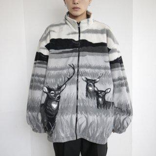 old deer oversized fleece jacket