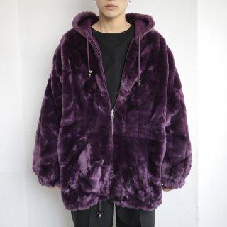 old reversible hooded faux fur jacket