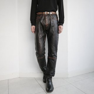 old damaged 5p leather trousers