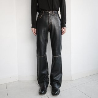 old damaged flare leather trousers