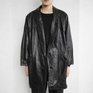 old python shoulder leather tailored jacket