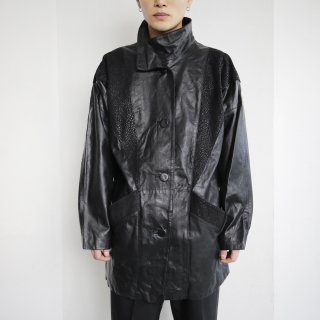 old python stand  collar leather jacket