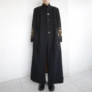 old broderie super long wool mao collar coat