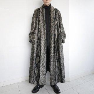 old python faux fur long lapel coat