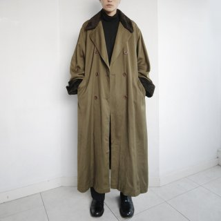 old detachable fur gabardine double breasted coat