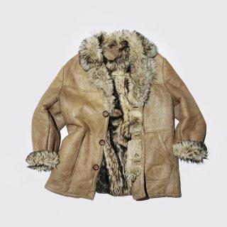 old reversible long hair fur / leather jacket