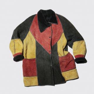 old paneled mouton jacket