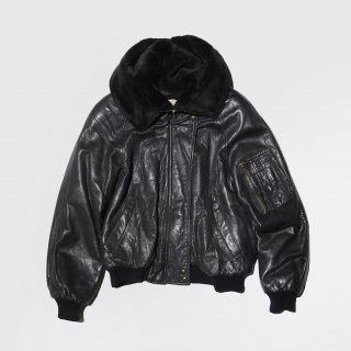 old lamb leather hooded bomber jacket