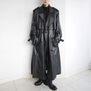 old double collar leather trench coat